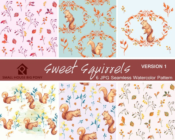 Watercolour Flower Clip Art Collection, Nursery Decor, Kid's invites - Hand Painted Graphics- Sweet Squirrels Seamless Floral Pattern