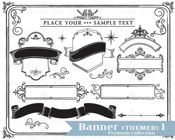 Banner Clip art, Clipart, banner clipart, black and white  clip art,- Instant download digital clip art