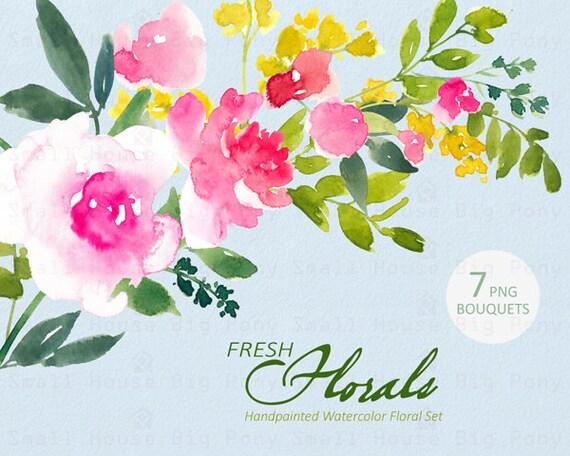 Digital Clipart- Watercolor Flower Clipart, Fresh Flowers Clip art, Floral Bouquet Clipart, wedding flowers clip art- Fresh Florals Bouquets