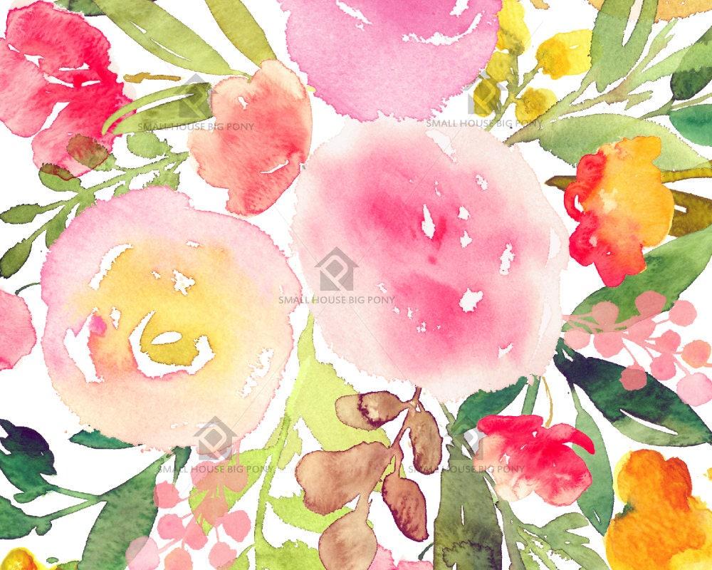 Watercolour Digital Wall Art , Home Wall Decor, Rose Watercolor ...