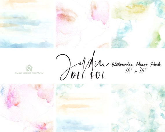 "Watercolor Digital Paper Pack: ""Watercolor Washes "" background papers in beautiful pastel colors - Commercial Use 16"" x 16"""