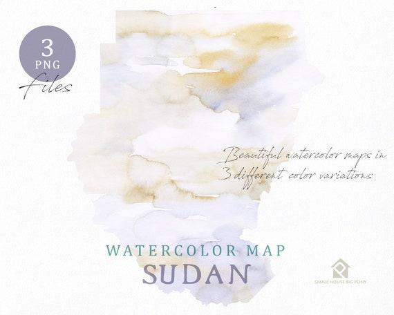 Sudan Map, Watercolor Map, Instant Download, Digital Map, Map Clipart, Wall Art, Color Map Clip Art, Custom Map, Watercolor Map