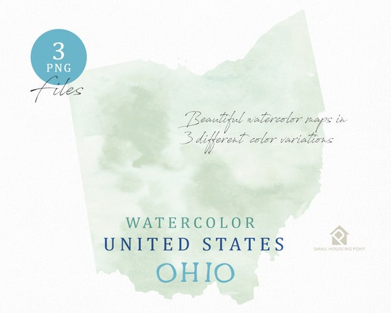 Ohio Map, Watercolor Map, Digital Map, Map Clipart, Wall Art, Color Map Clip Art, Custom Map, Watercolor Map