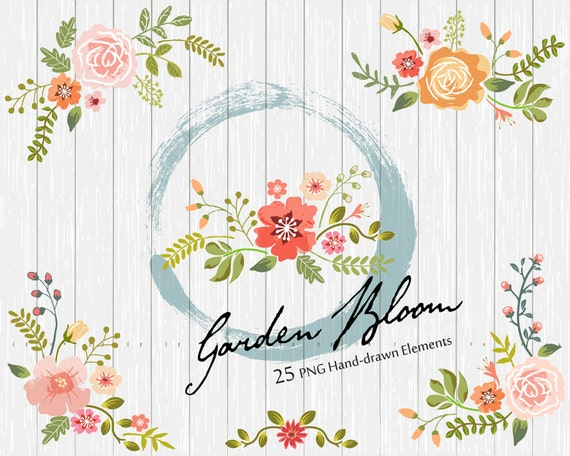 Floral Wedding Clipart, Wedding Flower Clipart, Digital Wedding Clipart, Save the Date, Digital Wedding Flowers, 25 PNG included in Zip