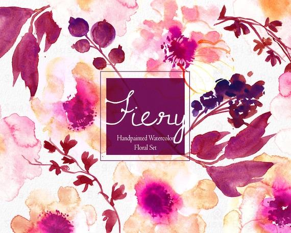 Digital Clipart- Watercolor Flower Clipart, peonies Clip art, Floral Bouquet Clipart, wedding flowers clip art- Fiery