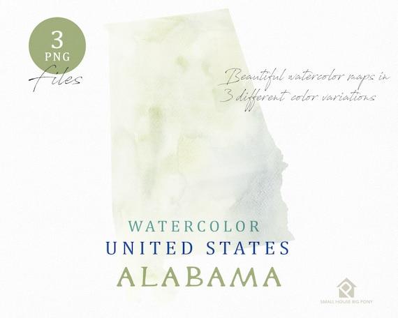 Alabama Map, Watercolor Map, Digital Map, Map Clipart, Wall Art, Color Map Clip Art, Custom Map, Watercolor Map