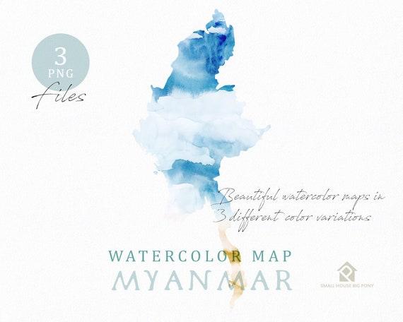 Myanmar Map, Watercolor Map, Instant Download, Digital Map, Map Clipart, Wall Art, Color Map Clip Art, Custom Map, Watercolor Map