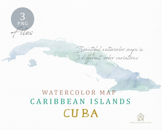 Cuba Map, Watercolor Map, Instant Download, Digital Map, Map Clipart, Wall Art, Color Map Clip Art, Custom Map, Watercolor Map