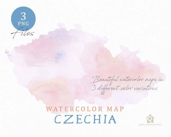 Czechia Map, Watercolor Map, Instant Download, Digital Map, Map Clipart, Wall Art, Color Map Clip Art, Custom Map, Watercolor Map