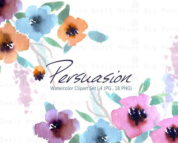 Watercolour Floral Clipart: 18 PNG separate elements. Handmade, watercolour clipart, wedding diy elements, flowers - Persuasion
