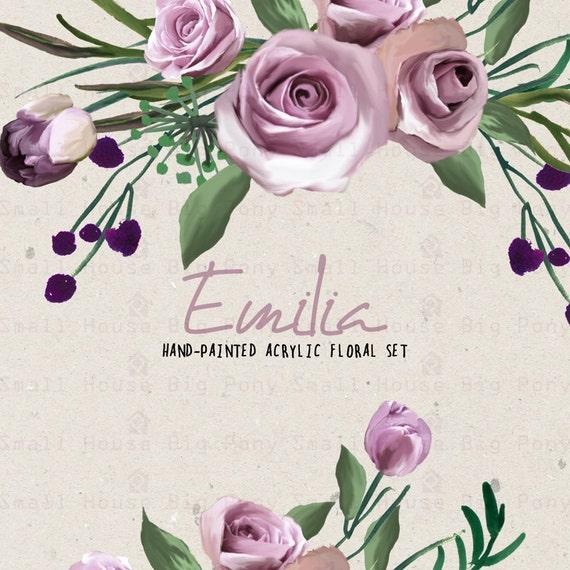 Digital Clipart- Watercolor Flower Clipart, Purple Rose Clip art, Floral Bouquet Clipart, wedding flowers clip art