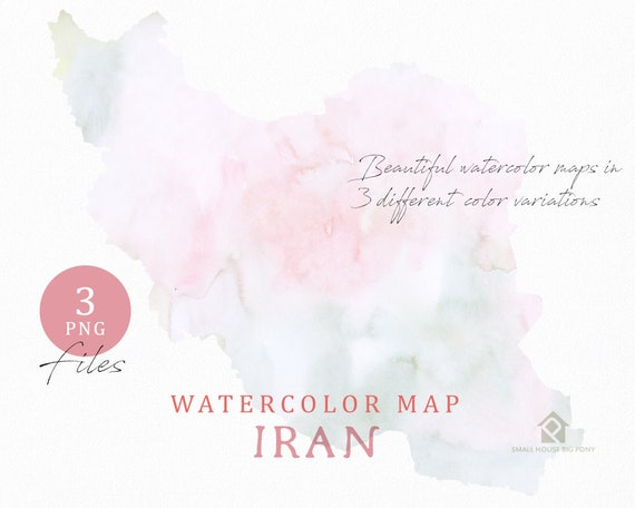 Iran Map, Watercolor Map, Instant Download, Digital Map, Map Clipart, Wall Art, Color Map Clip Art, Custom Map, Watercolor Map