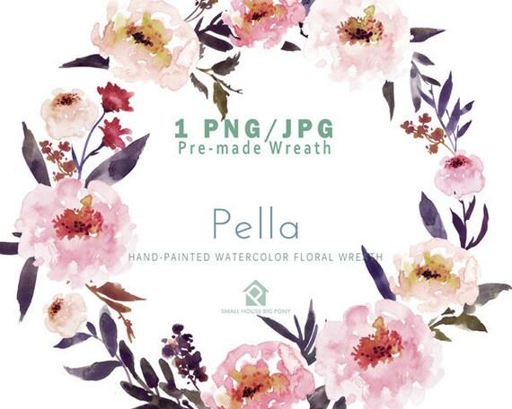 Digital Clipart- Watercolor Flower Clipart, peonies Clip art, Floral Bouquet Clipart, wedding flowers clip art- Pella Wreath
