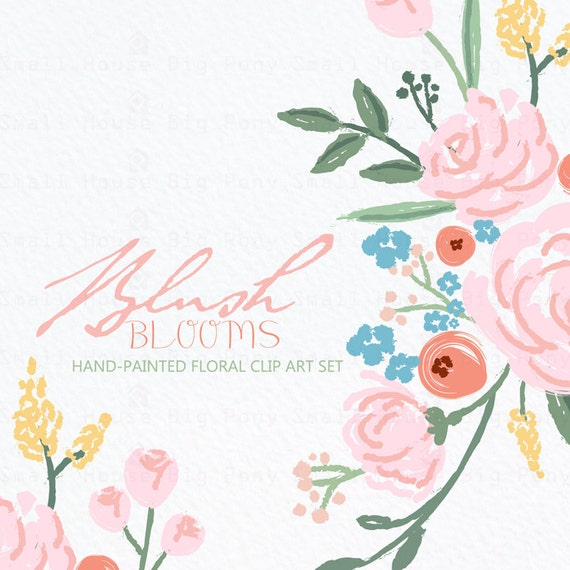 Digital Clipart- Hand-drawn Flower Clipart, Pink Rose Clip art, Floral Bouquet Clipart, wedding flowers clip art