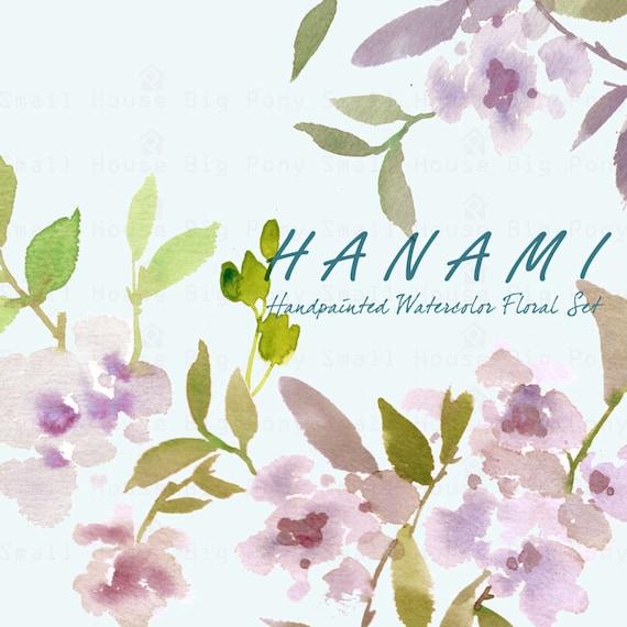Watercolour Floral Clipart. Handmade, watercolour clipart, soft floral blossoms - Hanami