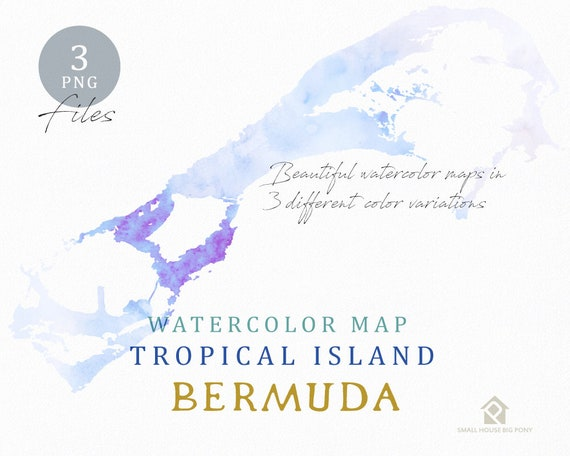 Bermuda Map, Watercolor Map, Instant Download, Digital Map, Map Clipart, Wall Art, Color Map Clip Art, Custom Map, Watercolor Map