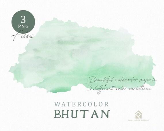 Bhutan Map, Watercolor Map, Instant Download, Digital Map, Map Clipart, Wall Art, Color Map Clip Art, Custom Map, Watercolor Map