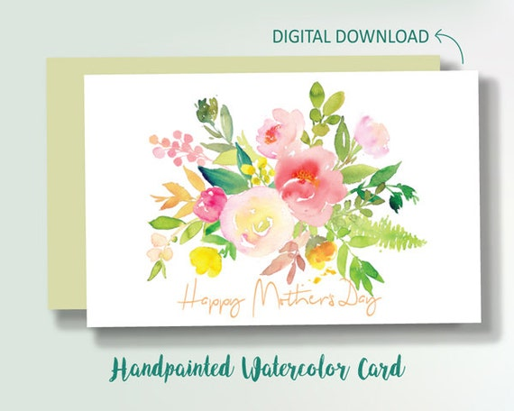Greeting Cards, Holiday & Seasonal ,Cards ,mothers day card, mothers day , flower bouquet card, digital download- Happy Mother's Day Card