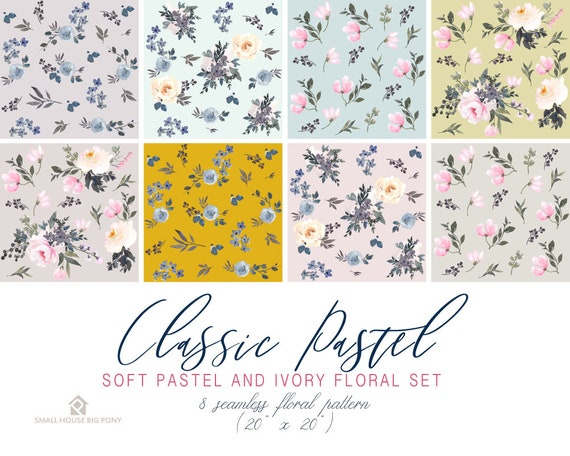 Watercolour Flower Clip Art Collection - Hand Painted Graphics- Classic Pastel Soft Pastel and Ivory Floral Set Seamless Floral Pattern