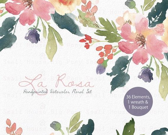 Watercolour Floral Clipart. Handmade, watercolour clipart, wedding diy elements, flowers - La Rosa