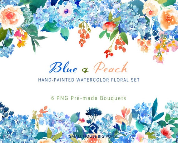 Digital Clipart- Watercolor Flower Clipart, peonies Clip art, Floral Bouquet Clipart- Blue & Peach Bouquets (6 Bouquets)