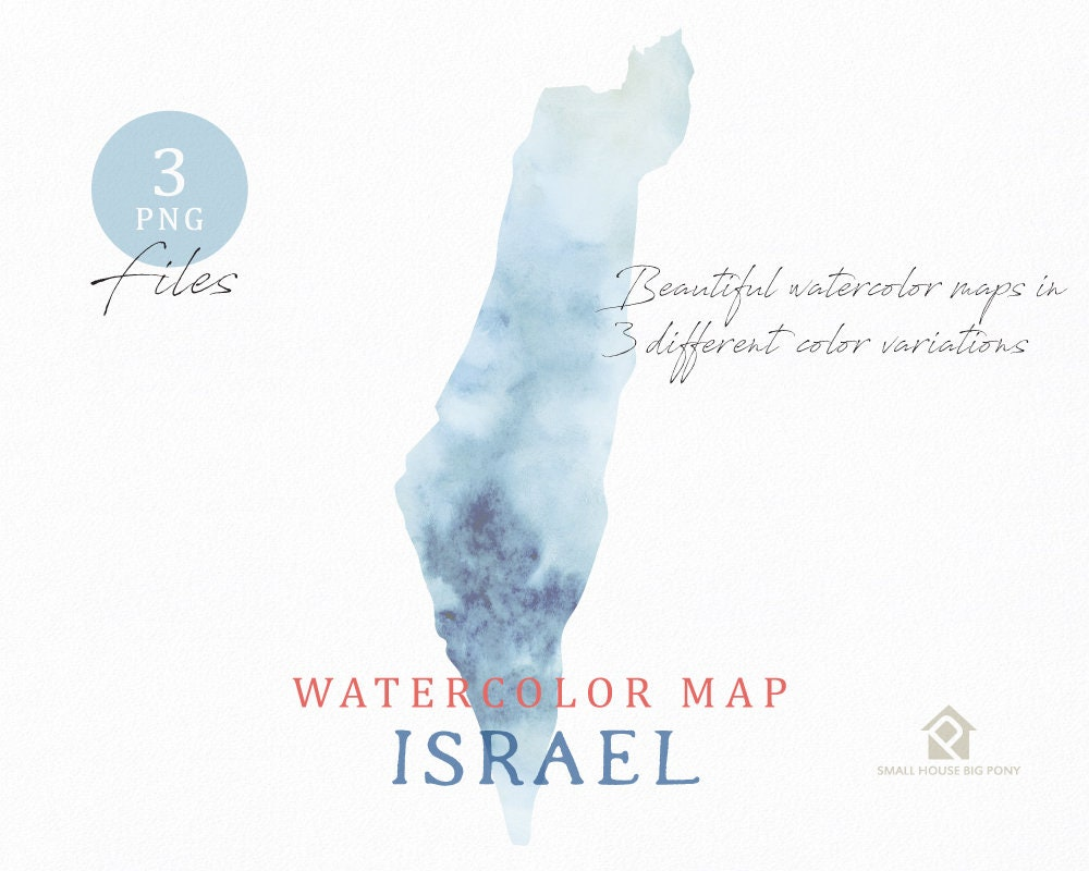 Israel Map, Watercolor Map, Instant Download, Digital Map, Map Clipart,  Wall Art, Color Map Clip Art, Custom Map, Watercolor Map