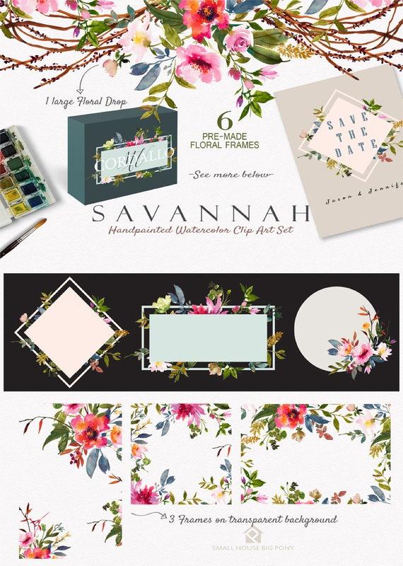 Digital Clipart- Watercolor Flower Clipart, Frame Clip art, Floral Frame Clipart, wedding flowers clip art- Savannah Frames
