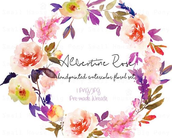 Digital Clipart- Watercolor Flower Clipart, peonies Clip art, Floral Bouquet Clipart, wedding flowers clip art- Albertine Rose Wreath
