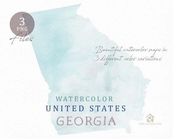 Georgia Map, Watercolor Map, Digital Map, Map Clipart, Wall Art, Color Map Clip Art, Custom Map, Watercolor Map