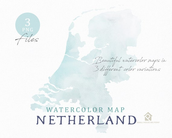 Netherland Map, Watercolor Map, Instant Download, Digital Map, Map Clipart, Wall Art, Color Map Clip Art, Custom Map, Watercolor Map