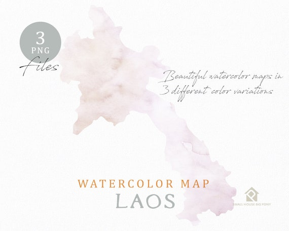 Laos Map, Watercolor Map, Instant Download, Digital Map, Map Clipart, Wall Art, Color Map Clip Art, Custom Map, Watercolor Map