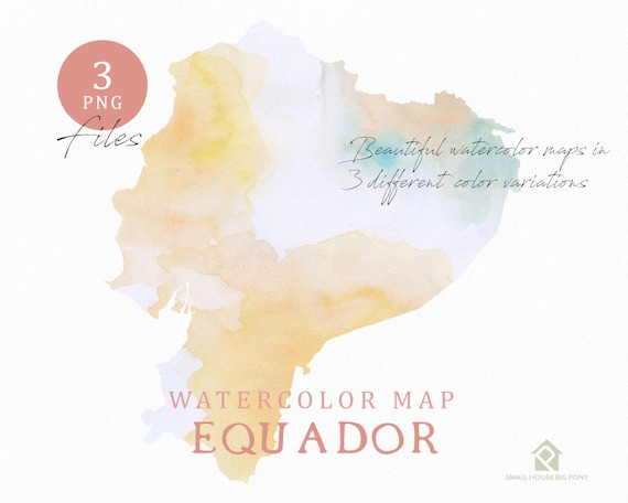 Equador Map, Watercolor Map, Instant Download, Digital Map, Map Clipart, Wall Art, Color Map Clip Art, Custom Map, Watercolor Map