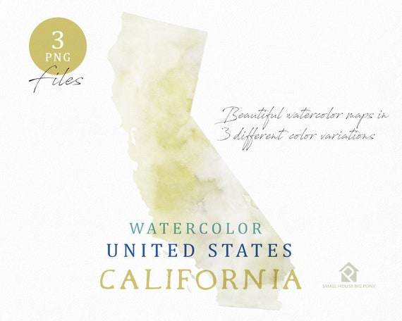 California Map, Watercolor Map, Digital Map, Map Clipart, Wall Art, Color Map Clip Art, Custom Map, Watercolor Map
