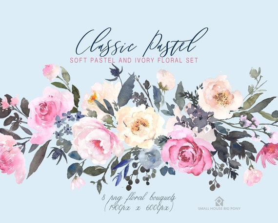 Digital Clipart- Watercolor Flower Clipart, peonies Clip art, wedding flowers clip art- Classic Pastel 8 Bouquets