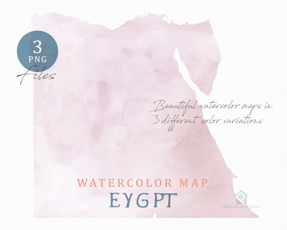 Eygpt Map, Watercolor Map, Instant Download, Digital Map, Map Clipart, Wall Art, Color Map Clip Art, Custom Map, Watercolor Map