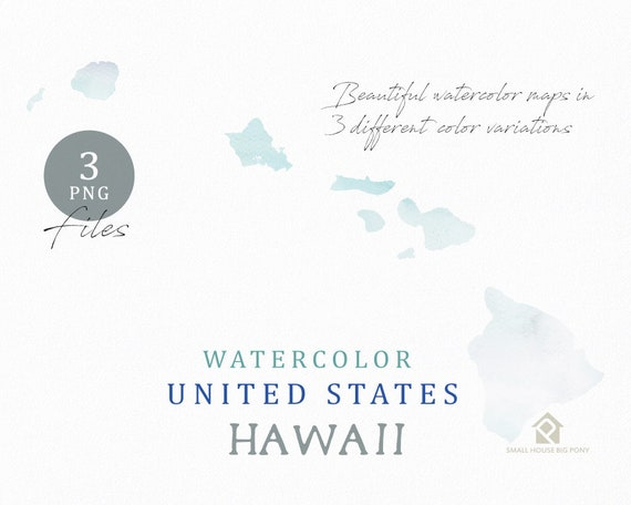 Hawaii Map, Watercolor Map, Digital Map, Map Clipart, Wall Art, Color Map Clip Art, Custom Map, Watercolor Map