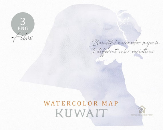 Kuwait Map, Watercolor Map, Instant Download, Digital Map, Map Clipart, Wall Art, Color Map Clip Art, Custom Map, Watercolor Map