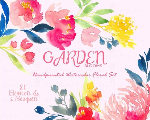 Digital Clipart- Watercolor Flower Clipart, peonies Clip art, Floral Bouquet Clipart, wedding flowers clip art- Garden Bloom Elements