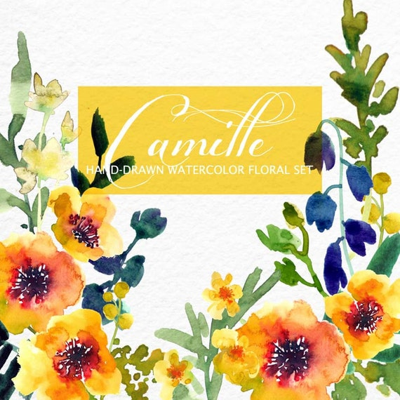 Watercolour Floral Clipart. Handmade, watercolour clipart, wedding diy elements, flowers - Camille