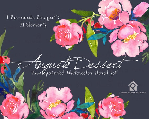 Digital Clipart- Watercolor Flower Clipart, peonies Clip art, Floral Bouquet Clipart, wedding flowers clip art- Auguste Dessert Elements