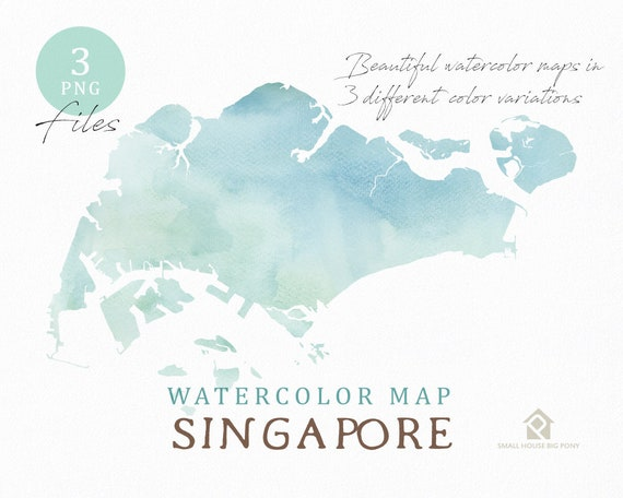 Singapore Map, Watercolor Map, Instant Download, Digital Map, Map Clipart, Wall Art, Color Map Clip Art, Custom Map, Watercolor Map