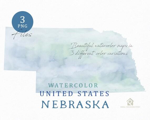 Nebraska Map, Watercolor Map, Digital Map, Map Clipart, Wall Art, Color Map Clip Art, Custom Map, Watercolor Map
