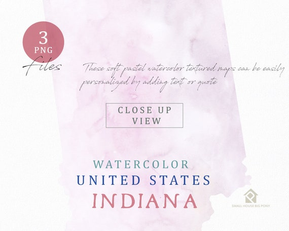 Indiana Map, Watercolor Map, Digital Map, Map Clipart, Wall Art, Color Map Clip Art, Custom Map, Watercolor Map