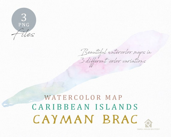 Cayman Brac Map, Watercolor Map, Instant Download, Digital Map, Map Clipart, Wall Art, Color Map Clip Art, Custom Map, Watercolor Map