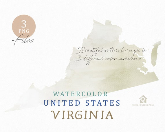 Virginia Map, Watercolor Map, Digital Map, Map Clipart, Wall Art, Color Map Clip Art, Custom Map, Watercolor Map