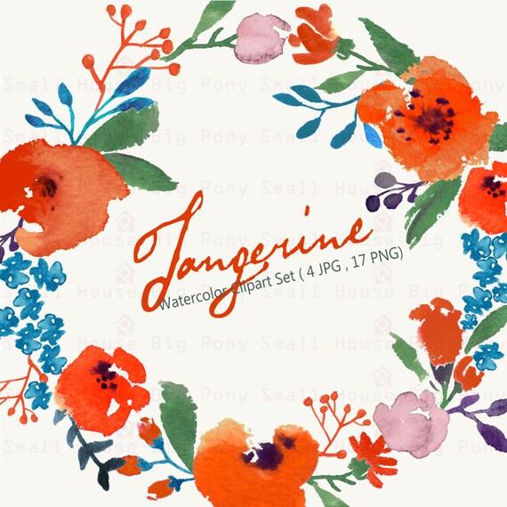 Digital Clipart- Watercolor Flower Clipart, Wedding floral Clip art, Floral Bouquet Clipart, wedding flowers clip art, Watercolour