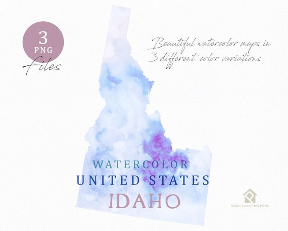 Idaho Map, Watercolor Map, Digital Map, Map Clipart, Wall Art, Color Map Clip Art, Custom Map, Watercolor Map