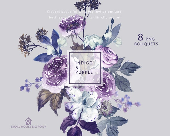 Digital Clipart- Watercolor Flower Clipart, peonies Clip art, wedding flowers clip art- Indigo & Purple 8 Bouquets