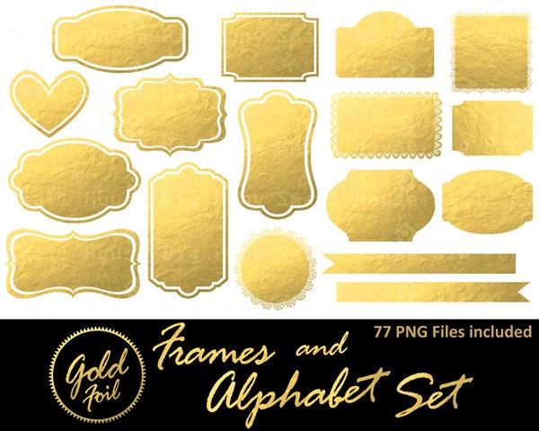 Gold Frames Clip Art Gold Glitter Labels Clip Art Mettalic Sparkle