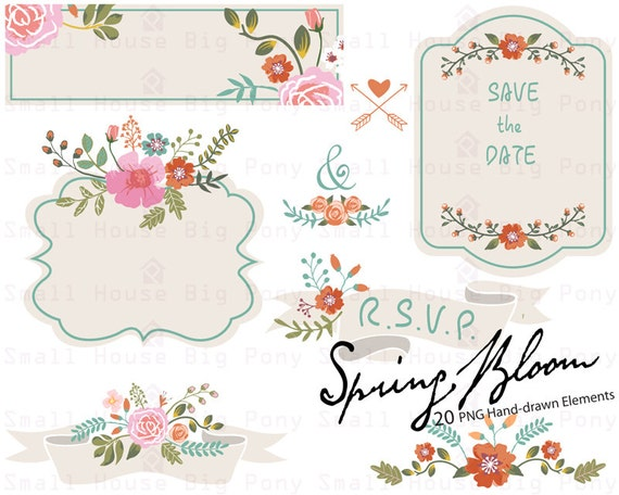 Floral Wedding Clipart, Wedding Flower Clipart, Digital Wedding Clipart, Save the Date, Digital Wedding Flowers, 20 PNG included in Zip